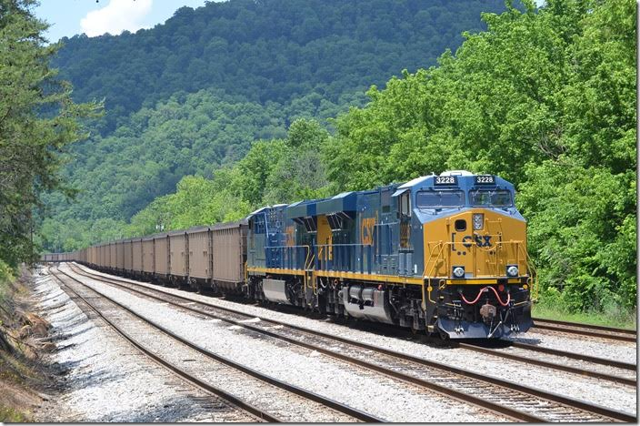 CSX new ES44ACs 3228-3227 waiting on a crew at the east end of Shelby. 05-30-2015.