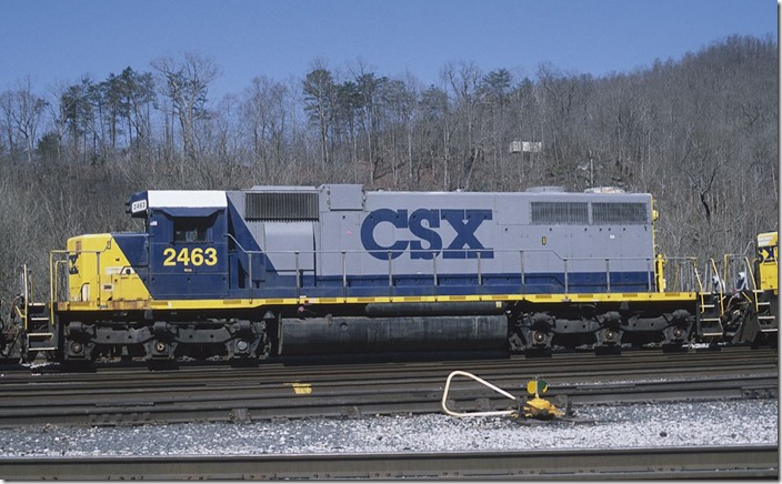 SD38s 2463 and 2461, both ex-Conrail, nee-Penn Central, were dead-in-tow heading to Huntington to be retired and parted out.