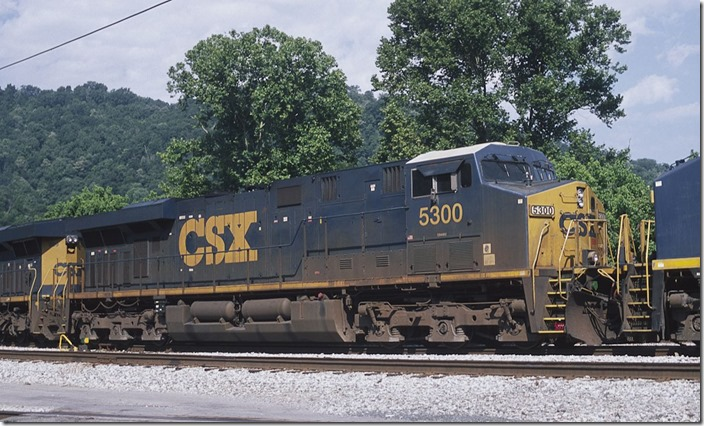 The class engine (sort of). ES44DC 5300 on Q697. 6-22-2013.