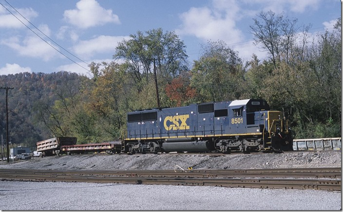 """SD50-2"" 8501 parked on the sand track at Shelby on 10-21-2012"