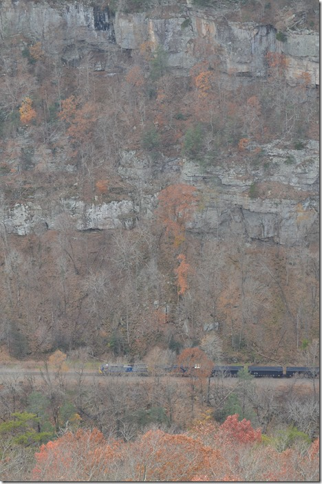 CSX 502 leads U430-12 (Scotts Branch mine to Irmo, SC) with 100 PMRX loaded hoppers. View 3.