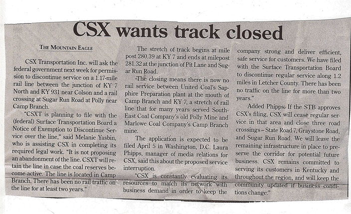 The Mountain Eagle newspaper clipping about the closure of the track.