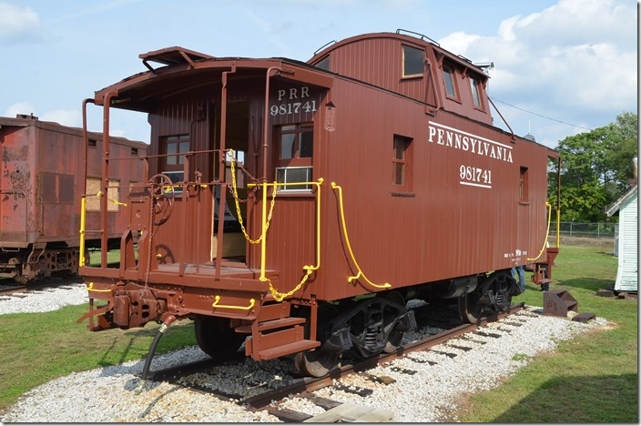 "PRR 981741 N6b ""cabin car"" was rebuilt from a 4-wheel ""bobber"" caboose."