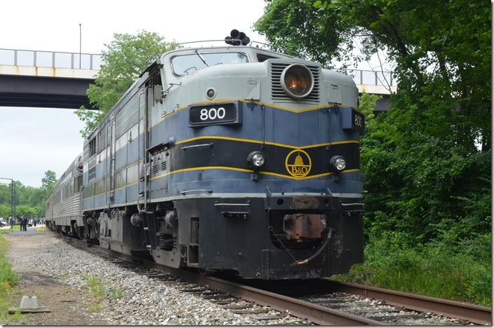 B&O had several FPA-2 and FPB-2 units which were FA-2s equipped with steam generators for back-up passenger service. B&O 800. Akron OH. View 2.