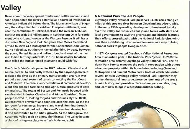 CVNP Beautiful Valley brochure. Page 3.
