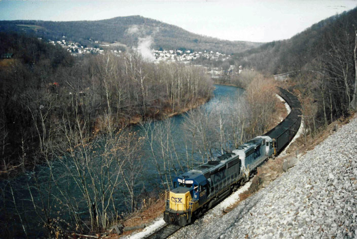 No date. CSX 6247. Coal cars off spur at Keyser MD, on the St Louis line.