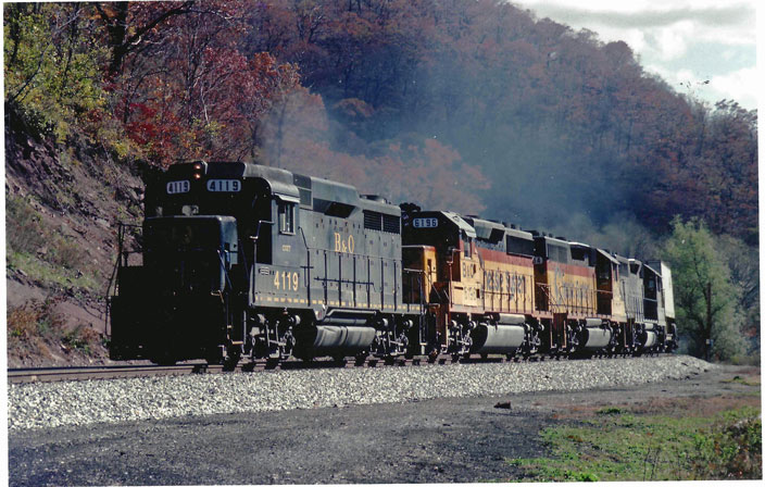 1989 October. B&O 4119, C&O 6196 with others. Sand Patch.