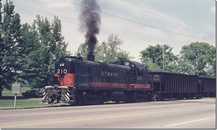 In 1967 ET&WNC received CofG 108 and 109 in a trade for their 2-8-0 steamers 630 and 722. View 3. No. 630 is now owned and operated by the Tennessee Valley Railway Museum.