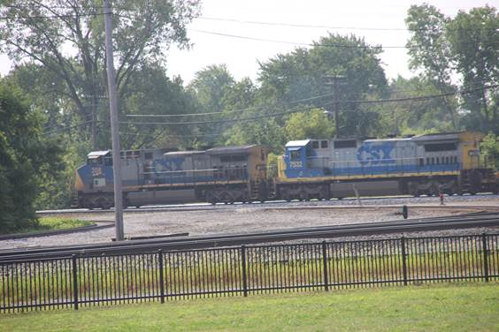 CSXT 208 and 7532 have just passed F Tower north bound.