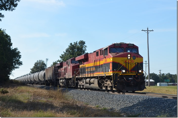 KCS 4684-CP 8905 heading north out of Stilwell, OK with an ethanol train.