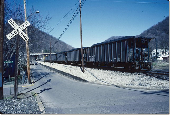 KC&NW 1 shoving loads toward the barge terminal. View 2. Cedar Grove WV. 02-20-1990.