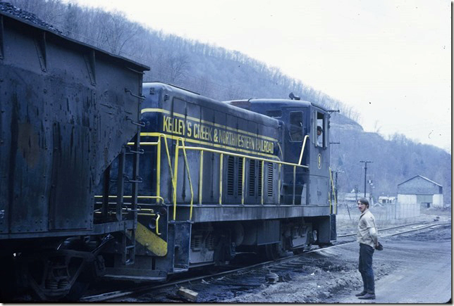 KC&NW 9 picking up coal loads at Ward WV. 03-16-1972.