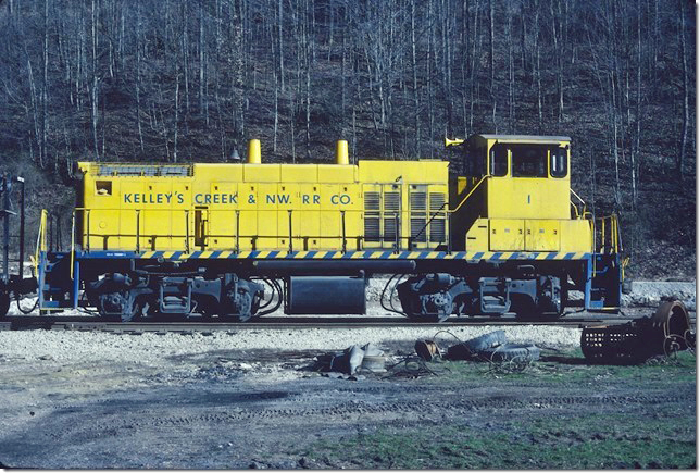 KC&NW No 1 an MP15 at Mammoth WV. 1990.