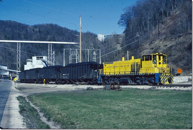 KC&NW 1. Making up their train of loads at the Valley Camp no. 5 mine. Mammoth WV. 1990.