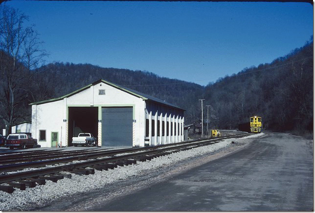 KC&NW 1. Passing the engine house at Ward WV. 1990.