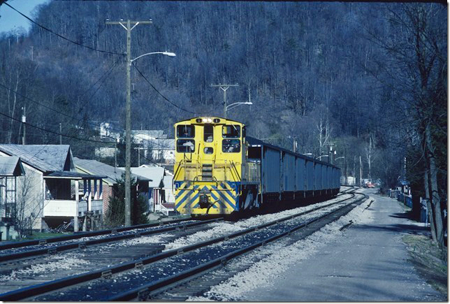 KC&NW 1. Arriving Cedar Grove with loads. 1990.