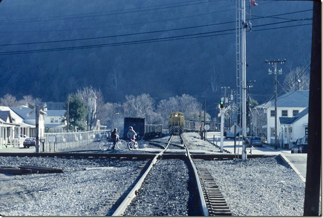 KC&NW 1. Shoving across Conrail to the barge terminal at Cedar Grove WV. 1990.