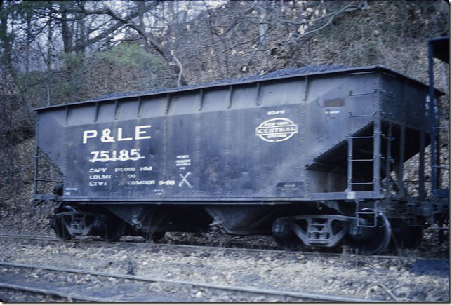 P&LE 75185. This hopper had been retired by P&LE. 1972.