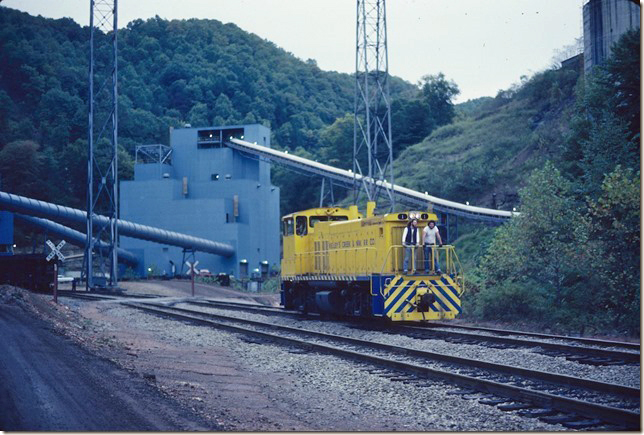 Having delivered empties, KC&NW 1 will be coupling onto those loads from the Valley Camp #5 mine. 10-08-1979.