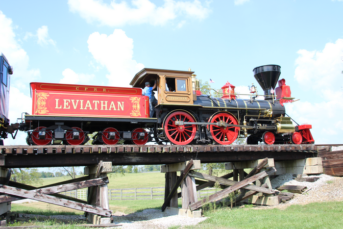 Leviathan steam locomotive view 3 at trestle.