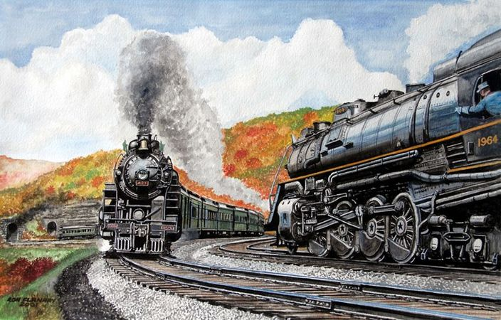 L&N - Crooked Hill, 1944. Painting  by Ron Flanary.