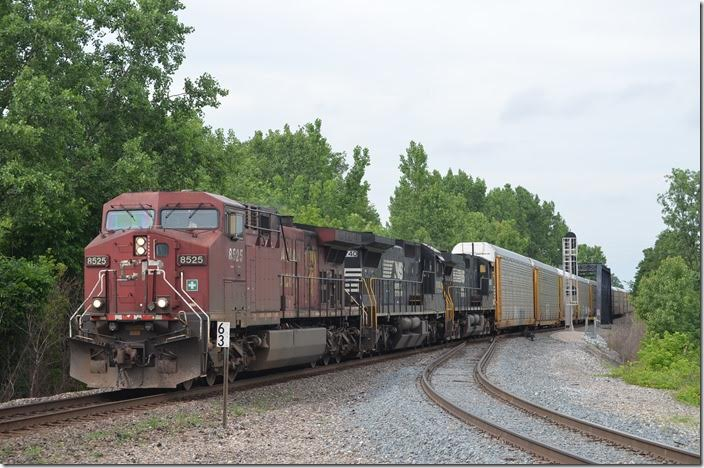 CP 8525-8740-8892 lead e/b train 272 with 52 loaded multi-levels and 5 empty stacks wells. Colsan OH.