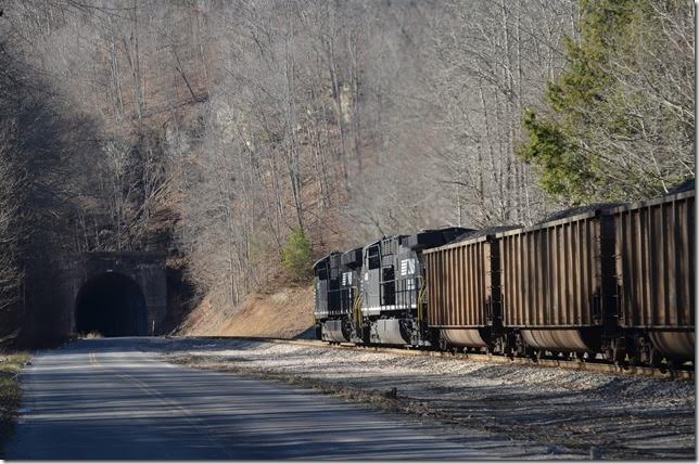 NS 8133-4016. Approaching Dry Fork Tunnel No. 3 at Summit.