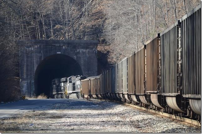 NS 8133-1059. N&W must have anticipated installing a ventilation fan at one time. The concrete-lined tunnel is 4,769 feet in length. Bandy VA is the nearest community on the west side. Bandy tunnel.