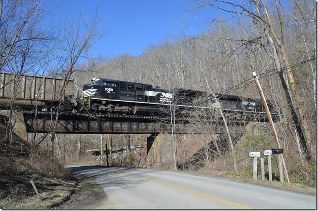 "NS 1059-3613 J73 at Valls Creek WV. There is still a bit of ""Norfolk & Western"" on the girder."