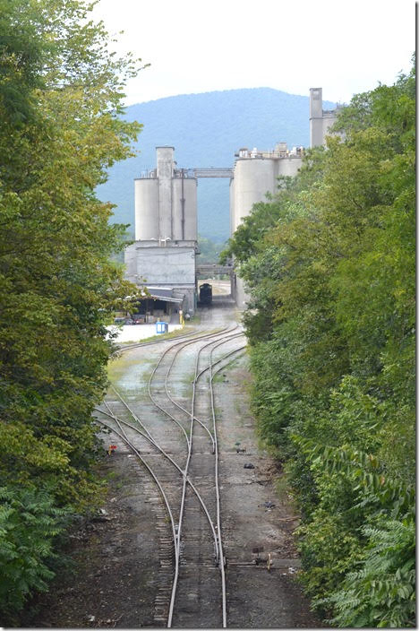 Looks like an industrial switcher parked down there. Titan America Roanoke Cement. Lone Star VA.