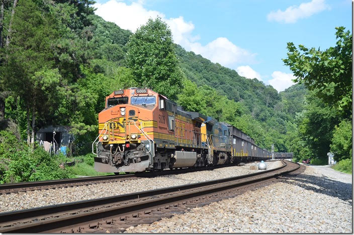 BNSF 5005-GECX 7619 lead w/b S0G-24 with 194 coke. This coke was loaded at SunCoke Energy, Vansant VA, and is going to Arcelor-Mittal in Cleveland. Naugatuck WV. 06-24-2018.