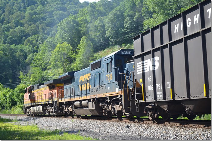 S0G-24 heads into Big Sandy Tunnel No. 1. 06-24-2018. BNSF 5005-GECX 7619. Panco WV.