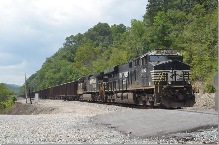 NS 8080-9508 on 68Q-23 are parked awaiting a crew to take the train to Roanoke. The connection with the main line is just a few hundred feet to the east. To my knowledge these rock trains are the only moves on the P-D now between Princeton and Kellysville. Kellysville WV.