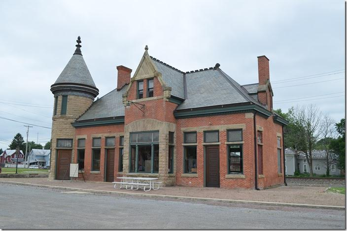 The beautifully restored former Toledo & Ohio Central depot in Bucyrus. The NS Sandusky District is in the background. The former Pennsy main line is to the right. ex-T&OC depot. Bucyrus.
