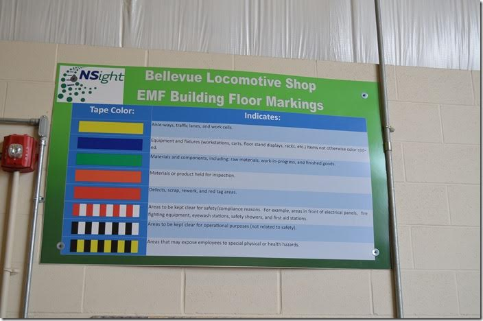 NS new EMF shop. Floor markings codes. Bellevue.