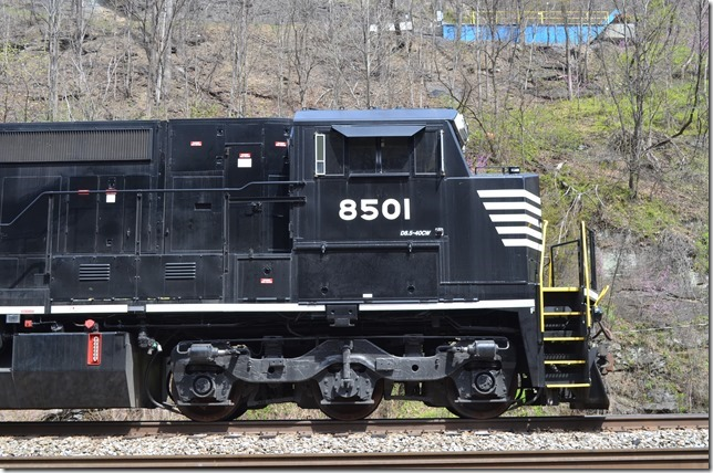 "NS 8501 is now labeled a ""Dash 8.5-40CW."" This 06-2015 rebuild is ex-Conrail Dash 8-40C 8309. Although still 4000 HP it has numerous upgrades. Most importantly it meets Tier 4 emission standards. Most noticeable is the Roanoke Loco. Shop designed wide nose and cab. Hull."