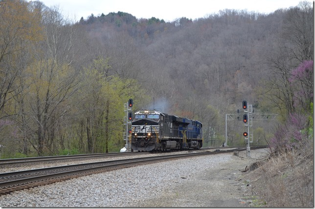 "There was nothing close to push, so pusher J52 was instructed to return to Bluefield. 8006-8103 are eastbound at Powhatan (""Crozier"" signals). NS pusher 8006-8103. Powhatan."