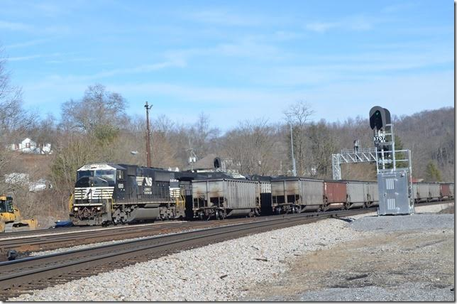 No. 188 rolls through Flat Top (Yards VA post office). Something is coming on Main 2. NS 6801. Flat Top.