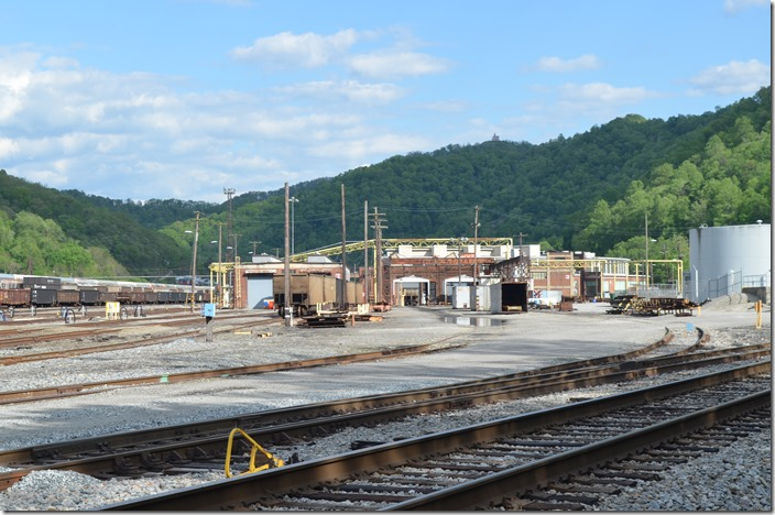 "This is what the Williamson WV NS car shop looks like now. The yard is full of stored gons and multi-levels. The old ""Lubratorium"" is left of center. I need to go back and shoot a bunch of those stored vintage gons. No locomotives serviced here anymore. 05-07-2020."