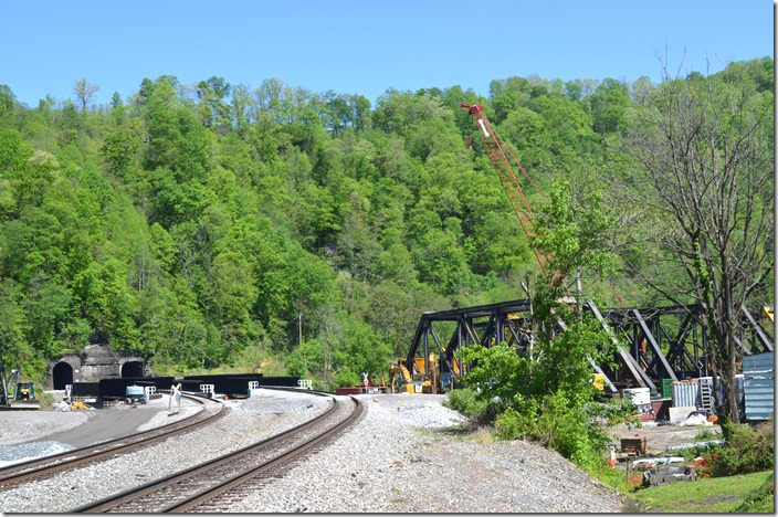 The new NS bridges are in place just west of Matewan WV at Hatfield Bend tunnels. 05-07-2020.
