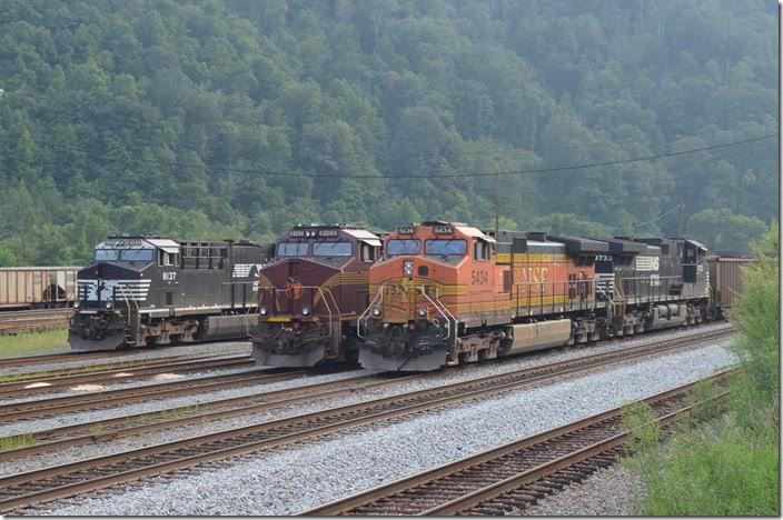 BNSF 5434 8102 8137. A surprise, but not that unusual on NS. Williamson WV.