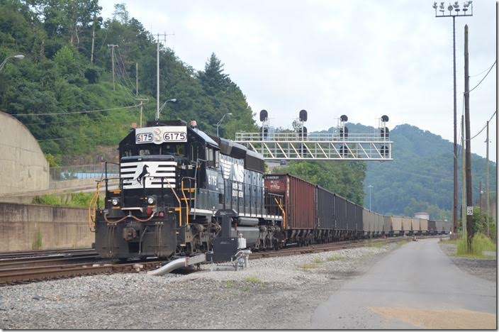 "The 3:00 PM Yard job switches at the west end. NS no. 6175 has been the regular yard engine here for years. An ""oldie but goodie."" Williamson WV."