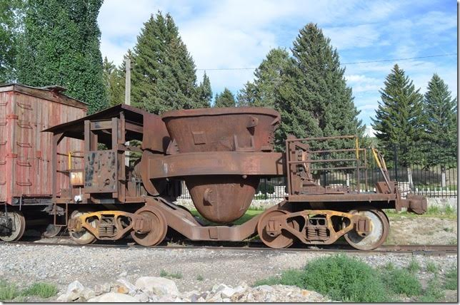 "This Treadwell slag dump car was used at the McGill smelter. Notice ""Treadwell"" just above the right truck platform."