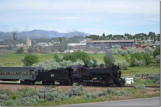 No 93 heads west out the ore line which skirts downtown Ely. View 2.