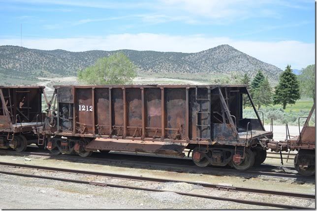 NN ore car 1212 in the ore yard. Probably a Koppel car. Ely NV.
