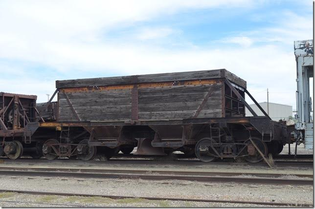 NN ballast hopper number unknown. Same car from the other side. Ely NV.