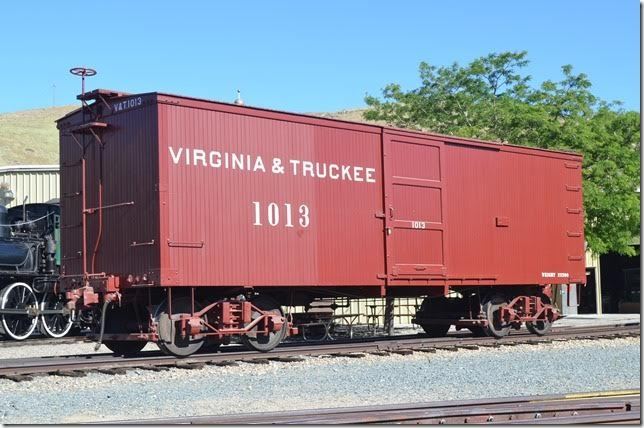 Virginia & Truckee (V&T) box car 1013 was ordered in 1874 from Wells, French & Co. of Chicago. The car's inside dimensions were specified to hold bales of hay shipped from Carson City. No. 1013 was rebuilt in 1909 and sold to Paramount Pictures in 1938. No. 1013 was acquired by the State of Nevada in 1971 and restored to its 1917 appearance. I love vintage rolling stock!