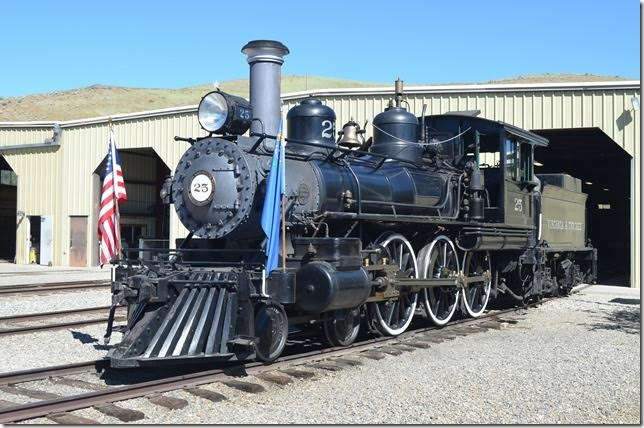 V&T 4-6-0 No. 25 was built by Baldwin in 1905 for passenger and freight service. It was built as a coal burner but converted to oil in 1907. No. 25 handled the last regular train from Virginia City in 1938. It was later sold to Metro-Goldwyn-Mayer studio. The State of Nevada acquired 25 in 1971 and returned it to operating condition.