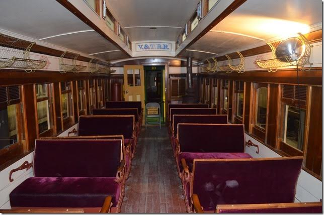 Interior of V&T combine coach 8. No. 8 was built by the V&T in 1869 and remodeled several times. V&T sold it to M-G-M in 1947 for movie use. The State of Nevada acquired the restored car in 1988, and it continues to see active service.