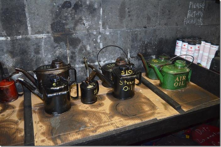 Several types of oil used on the various appliances on a steam locomotive.